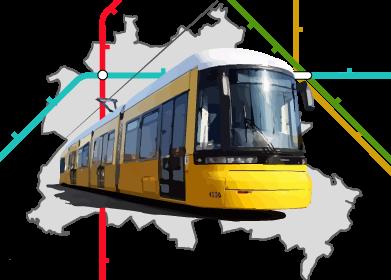 Berliner Straßenbahn vor Berlinkarte und stilisiertem Liniennetz