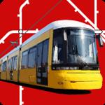 Berliner Straßenbahn vor stilisiertem Linienplan