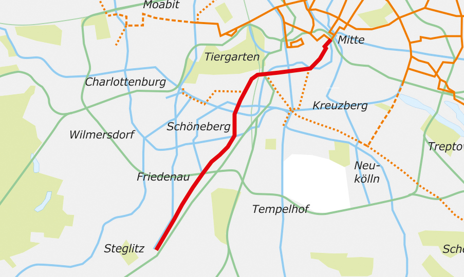 Tram-Ausbaustrecke 1: Alexanderplatz-Steglitz