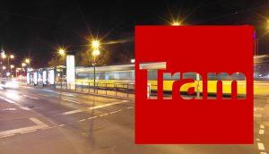 Straßenbahn - Verkehrswende, Elektromobilität: Nachtaufnahme